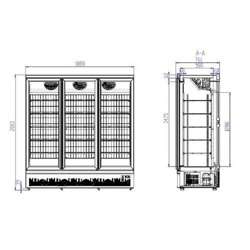 Combisteel Zwarte vrieskast met 3 glazen deuren | Side-by-side | 1530L | (H)199,7x(B)188x(D)71cm