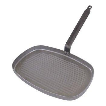 Grillpan 38x26cm rechthoekig met steel