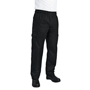 Slim fit Cargo broek zwart   Unisex   Maat XS-XXL