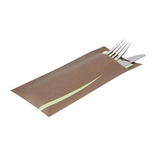 Bestekzakken met servet - bruin-groen - 125 stuks