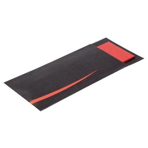 Bestekzakken met servet - zwart-rood - 125 stuks