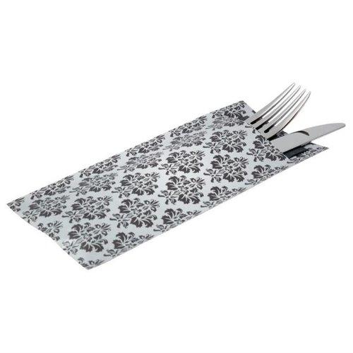 Bestekzakken met servet - grijs-wit - 125 stuks