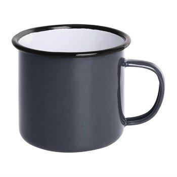 Mok 35cl - retro stijl - grijs/zwart - 6 stuks