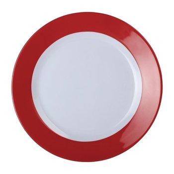 Melamine bord met rode rand - per 6 stuks - Ø26cm