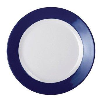 Melamine bord met blauwe rand - per 6 stuks - Ø23cm