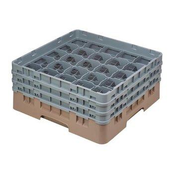 Glazenkorf Cambro met 25 compartimenten - 50x50x(H)22,5cm - glashoogte 17,4cm