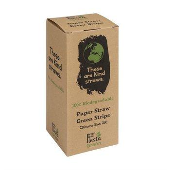 Biologisch afbreekbare rietjes - groen-wit - 250 stuks - 21cm
