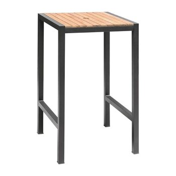 Bartafel acaciahout en staal - 60x60x(h)100cm