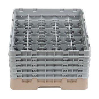 Glazenkorf Cambro met 25 compartimenten - 50x50x(H)30,8cm - glashoogte 25,7cm
