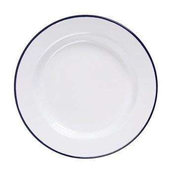 Bord 24,5cm - retro stijl - wit/blauw - 6 stuks