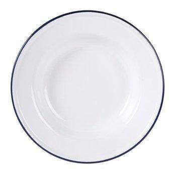 Soepbord 24,5cm - retro stijl - wit/blauw - 6 stuks
