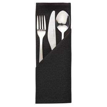 Servet Mitre Essentials zwart - polyester - 10 stuks - 51x51cm