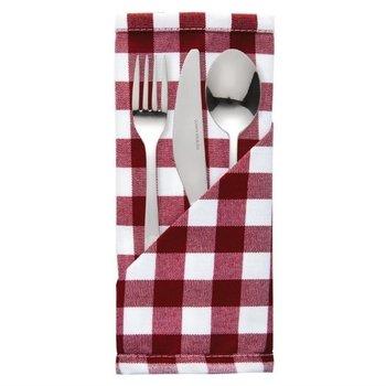 Servet Mitre Comfort rood wit - polyester - 10 stuks - 46x46cm