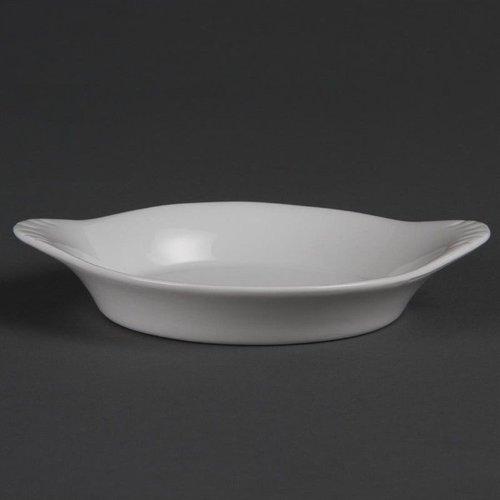 Ronde gratineerschaal met oren porselein | Per 6 stuks | 15,6x12,6cm