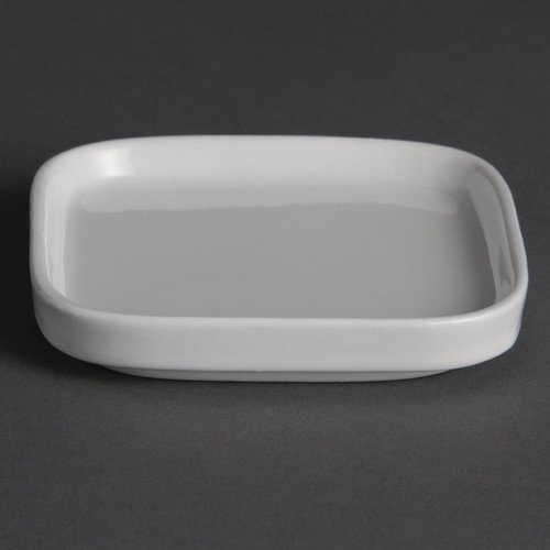 Vierkante platte amuseschaaltjes porselein   Per 12 stuks   9,3x9,3cm
