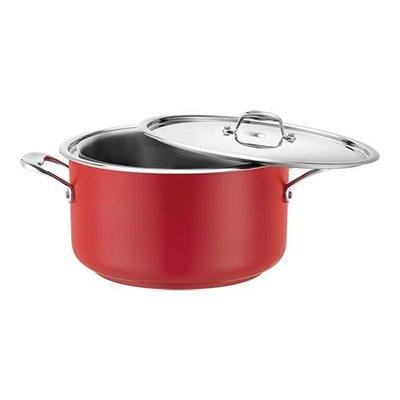 Bain marie pan - rood - rvs middel - 3,1 liter
