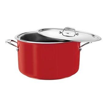 Bain marie pan - rood - rvs middel - 5,40 liter