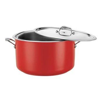 Bain marie pan - rood - rvs middel - 8,60 liter