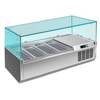 Koel opzetvitrine | met glas | 4x 1/3GN | (H)43,5x(B)120x(D)39,5