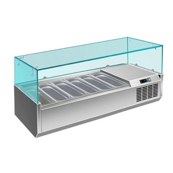 Koel opzetvitrine | met glas | 6x 1/3GN | (H)43,5x(B)140x(D)39,5