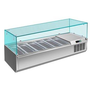 Koel opzetvitrine | met glas | 6x 1/3GN | (H)43,5x(B)150x(D)39,5