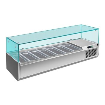 Koel opzetvitrine | met glas | 7x 1/3GN | (H)43,5x(B)160x(D)39,5