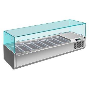 Koel opzetvitrine | met glas | 8x 1/3GN | (H)43,5x(B)180x(D)39,5