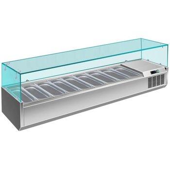 Koel opzetvitrine | met glas | 9x 1/3GN | (H)43,5x(B)200x(D)39,5