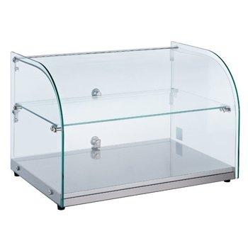 Neutrale display vitrine gebogen met tussenplank | 45L | (H)37x(B)55,4x(D)37,6