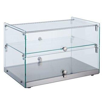 Neutrale display vitrine recht met tussenplank | 50L | (H)37x(B)55,4x(D)36,1
