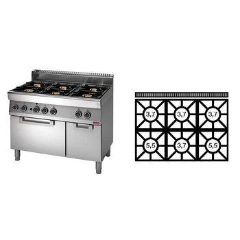 Gasfornuis Modular 700 - 6-pits+oven