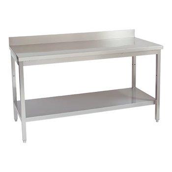 Werktafel Multinox opstand+onderplank 160cm