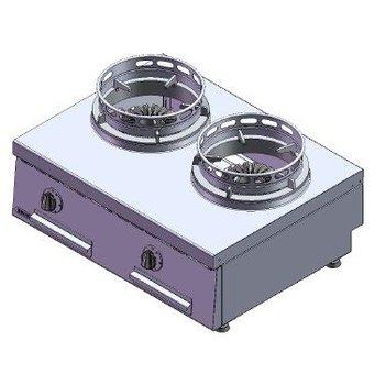 Wokbrander | aardgas | 2 branders | 26kW | (H)30x(B)40x(D)60cm