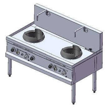 Power woktafel | aardgas | 2 branders | 66kW | (H)75/105x(B)140x(D)75cm