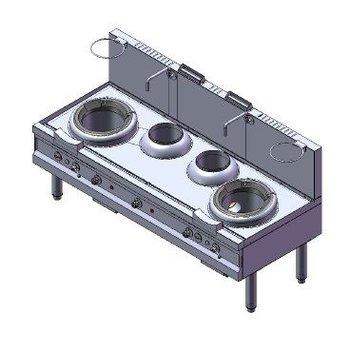 Turbo woktafel | aardgas | 2 branders | 80kW | (H)75/120x(B)220x(D)90cm