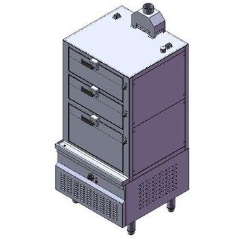 Stoomkoker op aardgas | 3 deks model | 42kW | (H)190x215,8x(B)90x(D)90cm