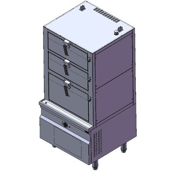 Stoomkoker elektra | 3 deks model | 27kW | (H)190x215,8x(B)90x(D)90cm