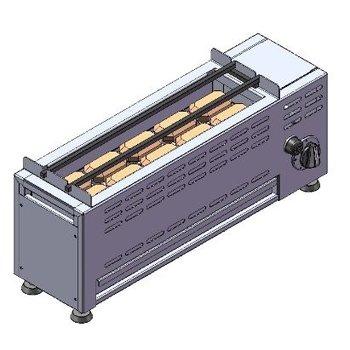 Sategrill met lavastenen | op aardgas | 7kW | (H)28,5/31x(B)70x(D)20cm