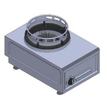 Wokbrander tafelmodel | aardgas | 13kW | (H)26/32x(B)38x(D)60cm