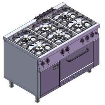 Gasfornuis met gas oven | 6 pits | 39,5kW | (H)85x(B)80x(D)75cm