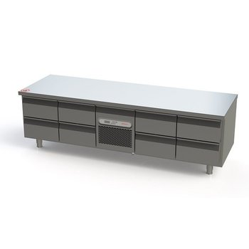 Lage koelwerkbank | 8 lades | Energielabel A | (H)65x(B)213x(D)70cm
