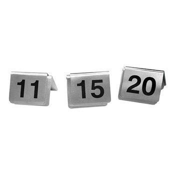 Tafelnummer set RVS - 11 tot 20