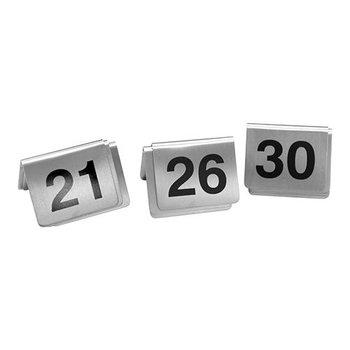Tafelnummer set RVS - 21 tot 30