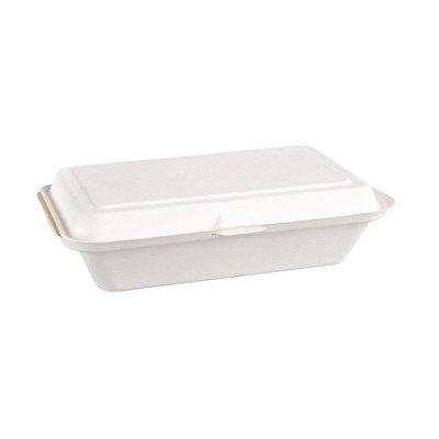 Bagasse maaltijddozen - magnetronbestendig - 24,8cm - 250 stuks