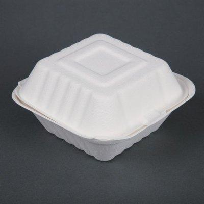 Bagasse hamburgerbakjes - magnetronbestendig - 15,3cm - 500 stuks