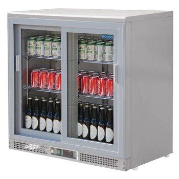 Bar dubbel display koeling | schuifdeur | zilver | 223L | (H)92,5x(B)92x(D)53,5