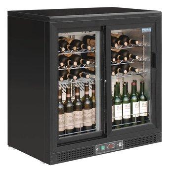 Wijnklimaatkast | schuifdeuren | 5 tot 18 graden | 56 flessen | (H)92x(B)92x(D)53,5