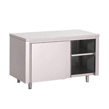 Werktafel RVS met deuren - gelast - 85(h)x100x70cm