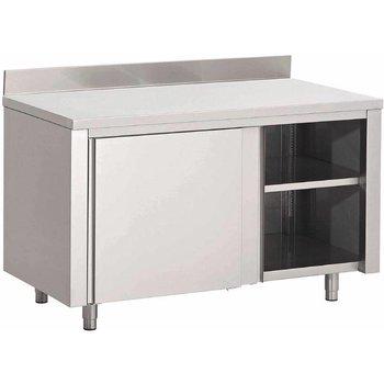 Werktafel RVS met deuren en achteropstand - gelast - 85(h)x140x70cm