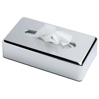 Tissue houder verchroomd - laag vierkant
